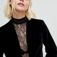 New Look Velvet Crop Blazer at asos.com