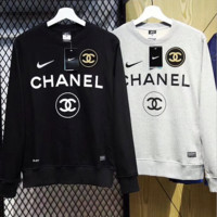 NIKE X CHANEL Women Men silver logo printed Sweatshirt
