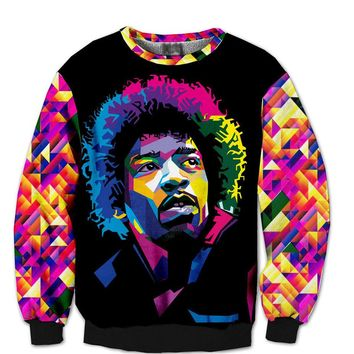 Fashion 3D JIMI HENDRIX PSYCHEDELIC colors Crewnecks James Marshall Hendrix jimi guitarist Sweats Sweatshirts For Women Men