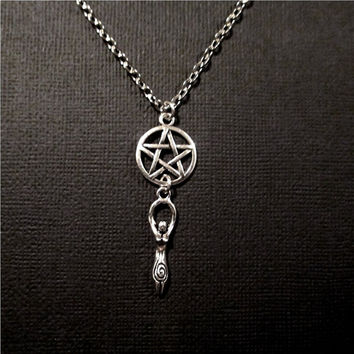 Silver Goddess Pentagram Necklace Wicca/ Pagan Jewelry,Mother Earth Necklace Rebletude