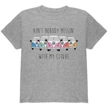 DCCKU3R Hippie Van Ain't Nobody Messin' With My Clique Bus Camper Youth T Shirt