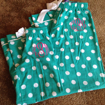 Monogrammed Girl's Polka Dot Fleece Pajama Pants Bridesmaid Bride Bridal Party