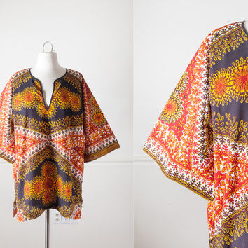 Vintage Dashiki Top | 1970s Tunic Top Boho Chic Festival Ethnic Hippie Top African Print 70s Top Bohemian Shirt Psychedelic Mod 60s Top