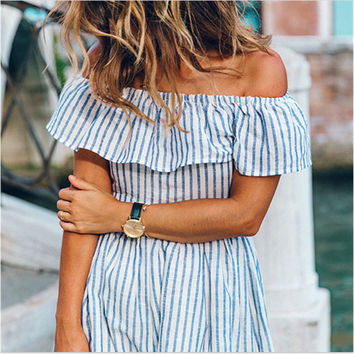 White and Blue Striped Flounced Collar Dress