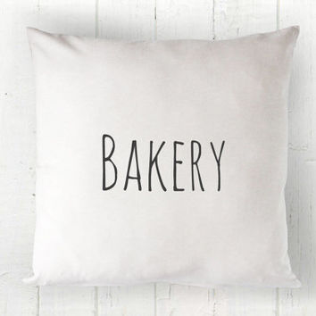 Bakery Pillow Cover - Farmhouse Decor, White Pillow, Farmhouse Pillow, Bakery Sign, 16 x 16, 18 x 18, 20 x 20