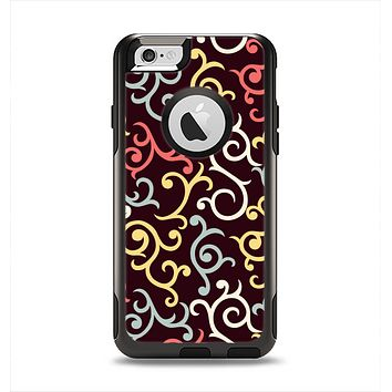 The Pink, Yellow and Blue Vector Swirls Apple iPhone 6 Otterbox Commuter Case Skin Set