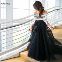 2016 Summer Fashion Women Ladies Two Piece Set Off Shoulder Striped High Waist Tutu Ball Gown Autumn Long Skirt And Top Set 4S