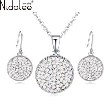 Nidalee New Crystal From Swarovski Fashion Circle Pendant Round Necklace Earrings For Women Wedding Ruby Sapphire Jewelry Set