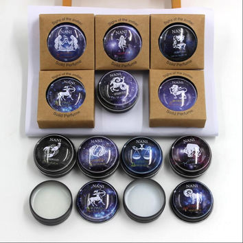 1 Pcs New High Quality 12 Constellation Zodiac Perfumes Women Men Magic Solid Perfume Deodorant Solid Fragrance