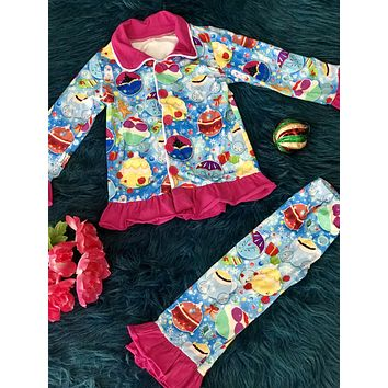 New Holiday Princess Button Down Christmas Pajamas
