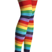 Rainbow Striped Thigh High Socks