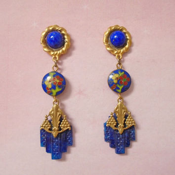 Blue Dangle Earrings - OOAK Drop Earrings - Cloisonne Beads  - Made with Vintage - Post Back