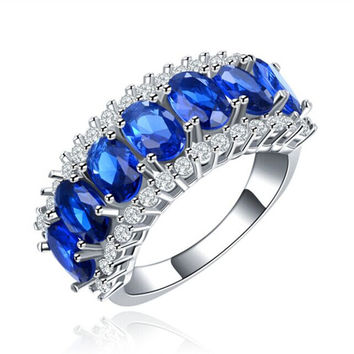 Fashion Jewelry Sapphire Rings for Women White Gold Plated CZ diamond Ring Engagement Bague Wedding Bijoux Accessories