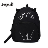 Women's Lovely Cat Canvas Backpack