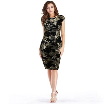 Sexy Women's dress Spring Summer Vintage Leaves flower pattern Sequined dress Office company Knee Length Bodycon dress