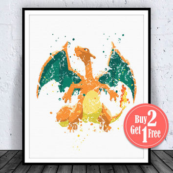 SALE: Pokemon Charizard Print, Pokemon Art, Pokemon Print, Pokemon Decor, Pokemon Poster, Pokemon Wall Art, Pokemon Art Print, Pokemon Wall