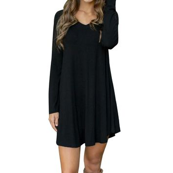 Autumn/Winter Women's Casual Long Sleeve Dress Short Cotton Linen