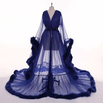 Navy Blue Feather Long Sleeve Tulle See-through Evening Dress Gown