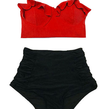 Red Midkini Top and Black Ruched High waist waisted Retro Vintage Bottom Swimsuit Swimwear Bikini Swimsuits Bathing Bath Swim suit wear L XL