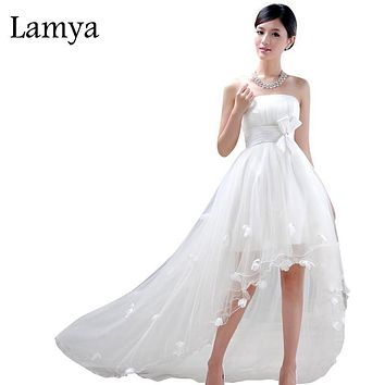 High Low Front Short Long Back Wedding Dress Lace Up White Elegant Ribbon Sashes Flowers Vestidos De Novia Cheap Bridal Gown