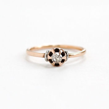 Antique 10k Rose Gold Old Cut 1/10 Carat Diamond Solitaire Ring - Vintage Sz. 5 3/4 Edwardian Early 1900s Fine Engagement Bridal Jewelry