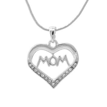Crystal Mom with Heart Necklace