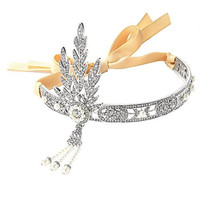 Babyond® Bling Silver-Tone The Great Gatsby Inspired Flapper Leaf Simulated Pearl Wedding Tiara Headpiece