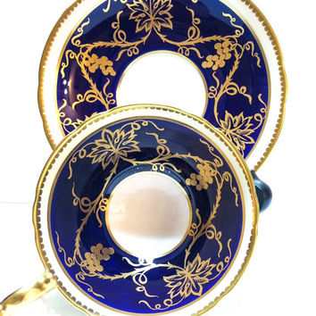 Antique Aynsley Tea Cup, Cobalt, Gold, Grape Motif, English Tea Cup, Bone China Tea Cup, 1930s