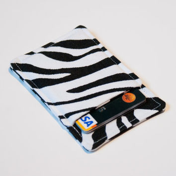 Zebra print card wallet, Slim card wallet - Black and white animal print - Fabric credit card wallet - Credit card case - Business card case