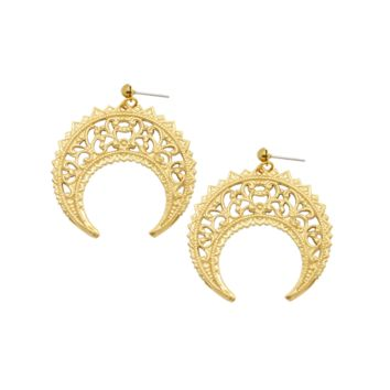 Eastern Crescent Gold Earrings