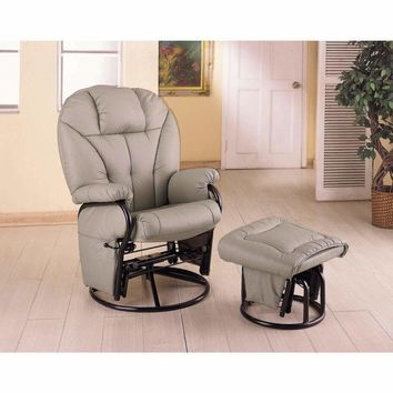 Snug Leatherette Glider with Matching Ottoman