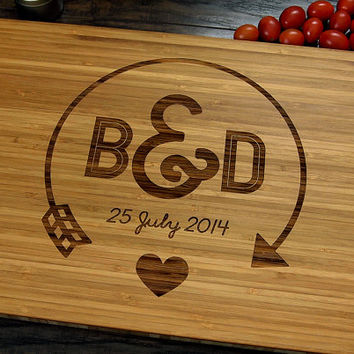 Personalized Wedding Gift, Cutting Board, Anniversary Gift, Chopping Board, Bridal Shower Gift, Christmas Gift, Initials, Arrow, Heart