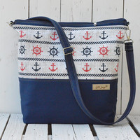 Marine Diaper bag Zippered bag Sailor navy crossbody bag Beach bag Weekender bag