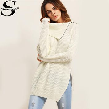 Sheinside Zip Lapel Knitted Sweater Beige Split Side Pullovers 2017 Autumn Women Long Sleeve Jumper New Casual Longline Sweater