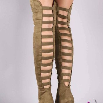 Liliana Suede Back Caged Pointy Toe Stiletto Over-The-Knee Boots