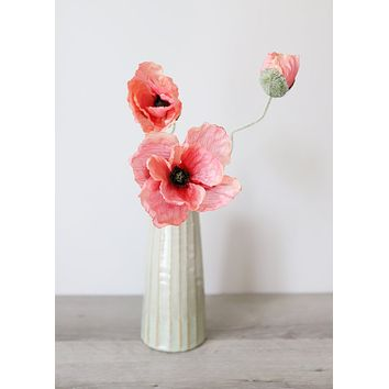 """Pink Salmon Artificial Poppy Flowers - 20"""" Tall x 3.5-4"""" Blooms"""