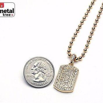 Jewelry Kay style Men's Bling Iced Out Gold Tone Dog Tag Pendant Ball Chain Necklace Set MMP 807 G