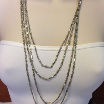 Vintage Antique Silver Chain 1/8 Inches wide and 120 Inches Long with Ring Clasp, Extra Long Silver Chain