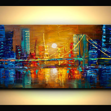 "ORIGINAL City Bridge Painting Modern Acrylic Palette Knife Abstract Painting Downtown Osnat 48"" x 24"" Enormous"