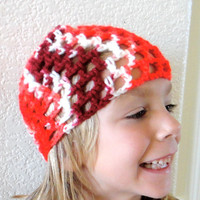 Child Skull Hat Beanie Red Burgundy White Crochet