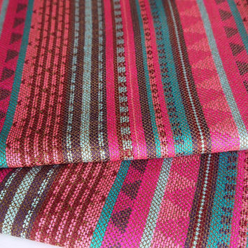 South American Fabric, Peruvian Fabric, Woven, Pink Blue Geo Stripes, 1 Yard