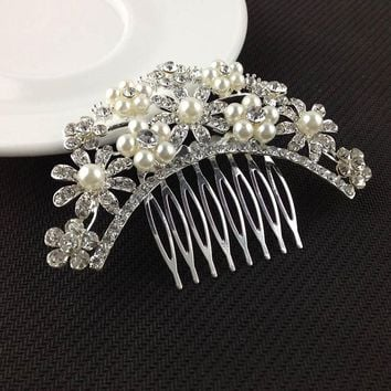 1 X Fashion Wedding Bride Headdress Hair Combs Crystal Rhinestone Floral Hairpins Hairclips Hair Comb Headwear Hair Accessories