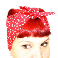 Vintage Inspired Head Scarf, Bandana Style, Red with Dots, Rockabilly, Retro