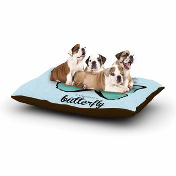 "NL Designs ""Blue Butterfly"" Blue Quote Dog Bed"