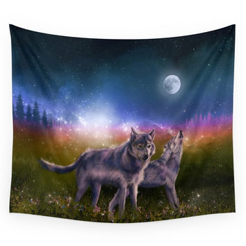Society6 Wolf And Sky Wall Tapestry