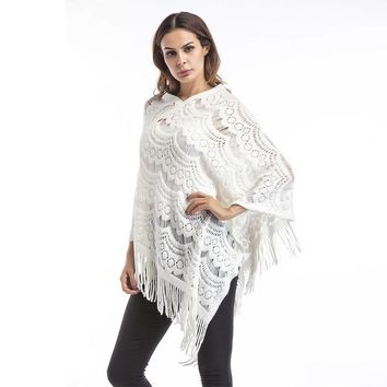 Vintage Lace Knit style w/ Boho Chic Tassel Wide sleeve Pullover