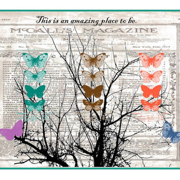 instant download, printable nursery art, butterfly art print, baby shower gift, whimsical wall art, tween gift, 300 dpi jpeg, nature art