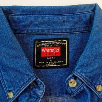 Wrangler Hero Ladies Denim Jeans Western Shirt Blue Long Sleeve Women Sz L