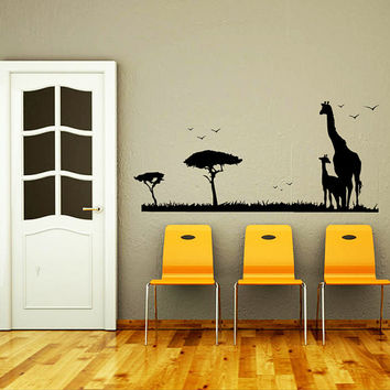 Safari Wall Decal Vinyl Sticker Decals Art Home Decor Mural African Safari Tree Animals Giraffe Elephant Jungle Bathroom Sahari Africa AN535