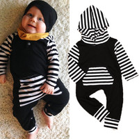 Newborn Infant Baby Boys Girls Clothes Cotton Hooded Romper Jumpsuit Long Sleeve Clothing Outfit Autumn Winter